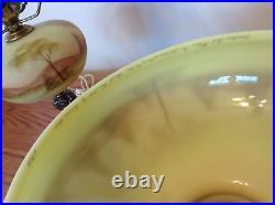 Vintage Fenton Hand Painted Scenic View Burmese Lamp