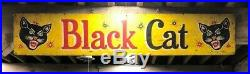 Vintage Fireworks Painted Wooden Advertising Sign Black Cat Shipping Available