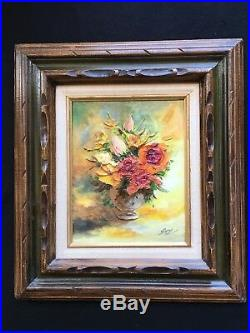 Vintage Floral Oil Painting Texture! On Canvas Carved Frame Signed Still Life