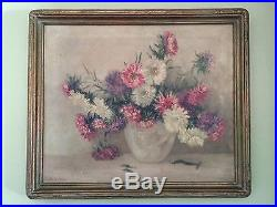 Vintage Floral Painting ASTERS, Famous Indiana Artist Signed LEOTA W LOOP, C1940