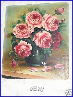 Vintage Floral Pink Vibrant Roses Oil Painting Artist Signed Old Estate
