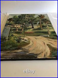 Vintage Florida Landscape Painting Gulf Coast Impressionism Original Signed