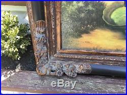 Vintage Folk Art Rabbits Bunnies Painting Print Gorgeous Frame Pastoral Signed