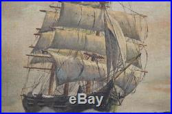 Vintage Framed Nautical Seascape Clipper Ship Oil Painting Signed Aas 1940's