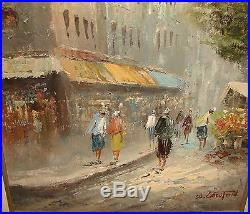 Vintage Framed Oil Painting On Canvas Cityscape Street Scene Signed W Lawton