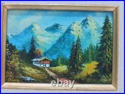 Vintage Framed Oil Painting on Board MOUNTAIN LANDSCAPE, Signed