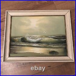 Vintage Framed Original Oil Painting Seascape By Artist Schubert
