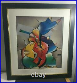 Vintage Framed Signed Modern Art Abstract Oil Painting 32.5 X 29.25