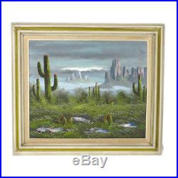 Vintage Framed Signed Western Desert Cactus Mountain Oil Painting