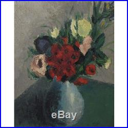 Vintage French Expressionist Oil Painting on Panel, Bouquet of Flowers, Signed