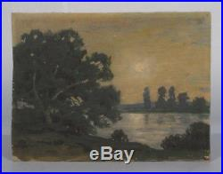 Vintage French Miniature Oil Painting Landscape by Night Moonlight River, Signed