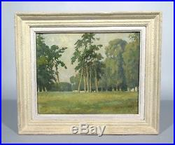 Vintage French Oil Painting, Chateau Park, Landscape, Trees, Signed Callard