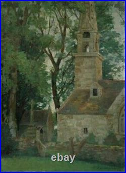 Vintage French Oil Painting Church, Chapel, Cross, Brittany, Signed, 1947