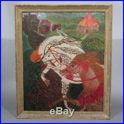 Vintage French Oil Painting, Circus, Horses, Signed
