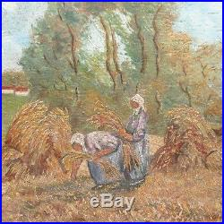 Vintage French Oil Painting, Harvest, Peasant Women, Cow, Signed Choteau, 1949