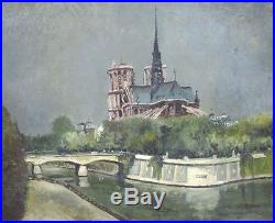 Vintage French Oil Painting Paris Notre-Dame Cathedral Seine River, Signed, 1960