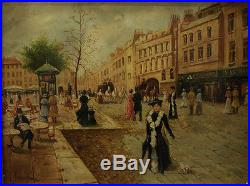 Vintage French Oil Painting Paris Street Scene Signed