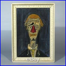 Vintage French Oil Painting after the Tête de Clown by Bernard Buffet, Signed