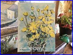 Vintage French Original Oil Painting Vase Yellow Flowers Signed South of France