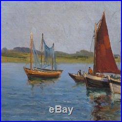 Vintage French Painting, Seascape, Fishermen, Boats, Harbor, Signed Alex Ledoux