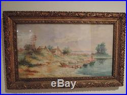 Vintage French Provence Watercolor Seaside Painting Boats c. 1940 Gilt Frame Sign