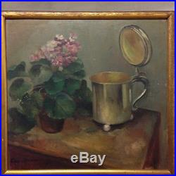 Vintage French Still Life Flower And Tankard Oil On Board Signed Lemming