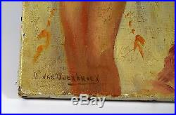 Vintage Gemälde Öl um 1900 sign. D. VAN OVERBROEK Tänzerin Bar Tanz Musik