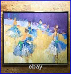 Vintage George Barrel / Italo Botti Modernist Painting of Ballerinas Dancers 30