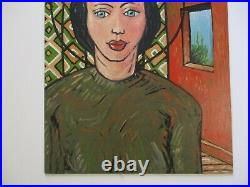 Vintage Gerald Rowles Painting Expressionist Modernist California Portrait Woman