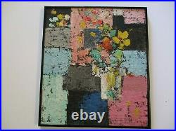 Vintage Gerald Rowles Painting Expressionist Modernist Still Life Flowers Floral