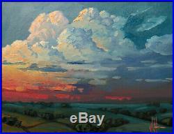 Vintage HAWKINS Landscape Original Clouds Large Impressionism Art Oil Painting