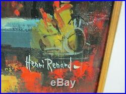 Vintage HENRI RENARD Signed Oil on Canvas Paris Cafe