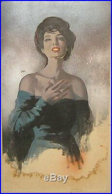 Vintage HOWARD CONNOLLY'Woman in Dress' PULP Book ILLUSTRATION PAINTING -LISTED