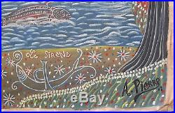 Vintage Haitian Art Brut Painting By Famous Andre Pierre Primitive Naive Voodoo