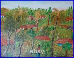 Vintage Haitian Folk Art Naif BIJOUX Painting Joseph Dubic Haiti Village 8x10