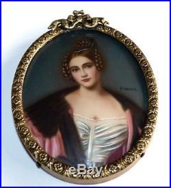 Vintage Hand Painted Miniature Portrait. Ornate Bronze Frame. Signed