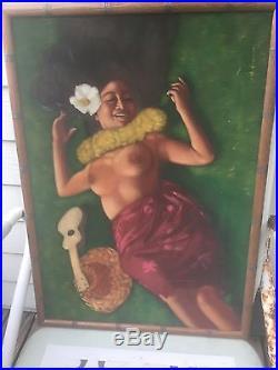Vintage Hawaiian Nude Wahine Signed By Artist Hula Girl Velvet Painting