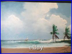 Vintage Highwaymen Oil Painting Beach Scene Sailboat Framed Signed L. Newton