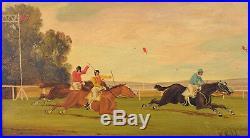Vintage Horse Racing Oil Painting on Wood Plank Jockeys & Horses by W. Webb