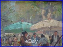 Vintage Impressionist Painting Small Gem Impressionism Street Scene Urban Market