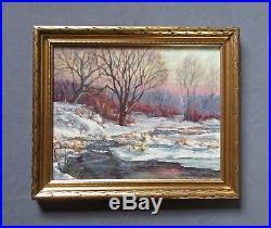 Vintage Impressionist Snow Scene Oil Landscape Painting Signed