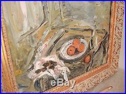 Vintage Impressionist Still Life Signed Mid-Century Modern Fruit Tabletop French