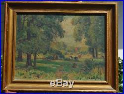Vintage Impressionist Summer Forest Landscape With Cows NY Artist Frank Barney