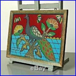 Vintage Indian Bead & Reverse Glass Painting. Green Parakeet In Flowering Shrub