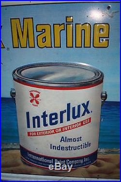 Vintage Interlux Marine Paints Sign Tin Maritime Boats Paint Can Embossed