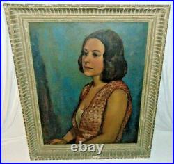 Vintage JOSEPH BURGESS (1891 1961) Society Female Portrait O/B Painting 1953