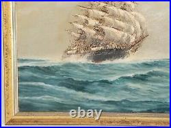 Vintage J Arnold Tall Ship oil painting on canvas board