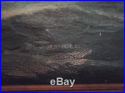 Vintage J. Arnold Yankee Whalers 24 x 36 Framed Oil on canvas Signed
