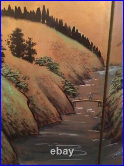 Vintage Japanese Chinese 4 Panel Folding Screen Byobu Painted 66x36 Signed Silk