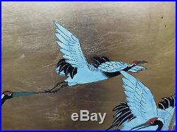 Vintage Japanese Egrets Heron Birds Painting Artist Signed Just Stunning